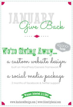 January Giveaway {#2014GiveBack} Custom Wordpress Site Design and 2 Months of Social Media Management Services - a $2K value!