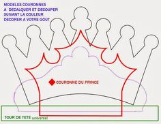 Princess crown template in Spanish Felt Patterns, Applique Patterns, Felt Crafts, Paper Crafts, Diy Crafts, Sewing Projects, Craft Projects, Crown Template, Heart Template