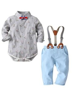 Dress Shirt and Slacks Set with Suspenders and Bow Tie Flower Print 11923cd33