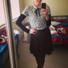 Teacher outfit black and white pussybow top