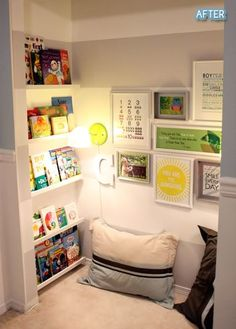 Reading lounge: remove closet doors, add carpet & pillows, Ikea spice racks work well for inexpensive bookshelves