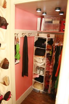 Use LED stick-on lights in a closet to avoid the need for electrical wiring.  Ex: http://www.apartmenttherapy.com/led-dot-lights-17763