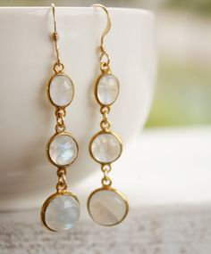White Rainbow Moonstone Earrings - Gold Filled - June Birthstone, June Birthdays. $69.00, via Etsy.