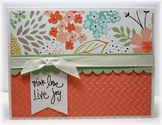 The card - printed paper from SU makes this an easy one to put together.  I added a sentiment on a flagged piece of white, some ribbon and a little texture with an embossing folder.  Easy peasy!