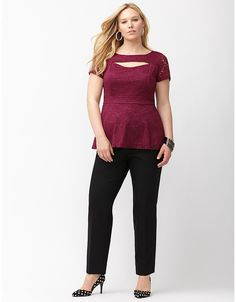 0d4a034e3f Cut out lace peplum top by Lane Bryant
