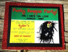 Bob Marley Invitations Bob Marley Birthday Party by FaeriePoppins 60th Birthday Party, Birthday Party Invitations, Boy Birthday, Birthday Ideas, Bob Marley Birthday, Rasta Party, Jamaican Party, Hippie Party, Caribbean Carnival