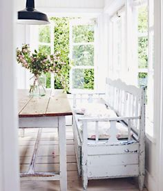 Searching for Simplicity - beautiful home and book written by Atlanta Bartlett - Keep it Simple - via Pen & Paper Flowers Monday Inspiration, Interior Inspiration, Porches, White Cottage, Keep It Simple, Farmhouse Chic, Home Decor Furniture, Decoration, My Dream Home
