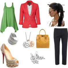 Pink and Green, created by eritter on Polyvore