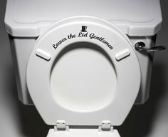 """Lower the Lid Gentlemen"" - Toilet Seat Bathroom - Funny Reminder Potty Training Vinyl Sticker Decal Copyright © Yadda-Yadda Design Co. (Color Choices) - Dimensions - 8.5""w x 3.5""h - Application Instr"