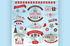 Christmas sale design set - labels by Netkoff on Creative Market