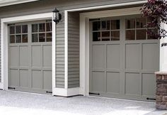 Did you remember to shut the garage door? Most smart garage door openers tell you if it's open or shut no matter where you are. A new garage door can boost your curb appeal and the value of your home. Grey Garage Doors, Garage Door Paint, Garage Door Colors, Garage Door Panels, Carriage Garage Doors, Garage Door Styles, Exterior House Colors, Carriage House, Timber Garage