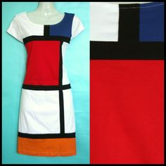 60s Vintage MONDRIAN Retro Mod Scooter GOGO Mini Dress US 6-8 UK 10-12 M Red | eBay