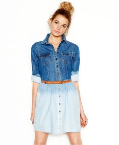 Angie Juniors Dress, Long-Sleeve Ombre Denim Shirtdress - Juniors Dresses - Macys