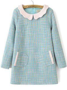 Kleid Langarm mit kontrastfarbenem Reverse-blau
