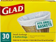 Glad Small Garbage Bags, 4 Gallon, 30 bags (Pack of 12) - http://trashbagcoupons.com/glad-trash-bags/glad-small-garbage-bags-4-gallon-30-bags-pack-of-12/