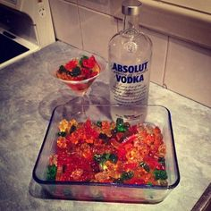 Vodka Gummy Bears: Fill a dish with gummy bears and add the vodka of your choice. Then leave it in the fridge for an hour so the gummy bears absorb the vodka.