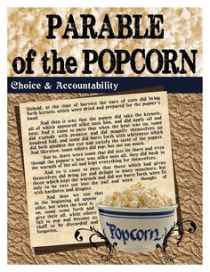 Parable of the Popcorn (Choice and Accountability) FHE Bible Object Lessons, Fhe Lessons, Lessons For Kids, Youth Group Lessons, Young Women Lessons, Young Women Activities, Youth Activities, Church Activities, Youth Games