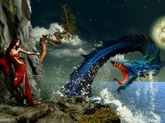 Sea Serpent Mythical Creatures ==>> Love this! Ocean Creatures, Fantasy Creatures, Mythical Creatures, Mythological Creatures, Dragon Images, Dragon Pictures, Fantasy Dragon, Fantasy Art, Female Samurai Art