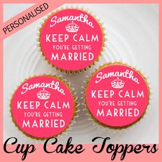 24 x Personalised KEEP CALM  WEDDING  Hen Do by MarikasCakeToppers, £2.99