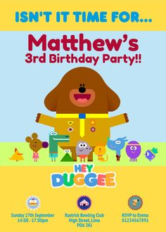 "HEY DUGGEE - 10 personalised birthday invitations including envelope but instead of Hey Duggee, Hey (Child's Name) and then ""Isn't it time for..."" Pablo's 2nd Birthday Party!!"