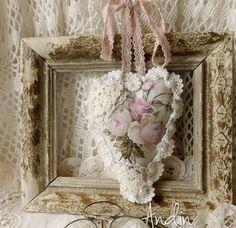 Srdíčko ve stylu Shabby chic / Zboží prodejce Andin Soft Heart, Lace Heart, Shabby Chic Hearts, Fabric Hearts, Creation Deco, Heart Crafts, Ribbon Work, Vintage Shabby Chic, Handicraft
