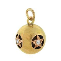 Victorian 18kt Diamond Star Hollow Ball Pendant 0.20ctw
