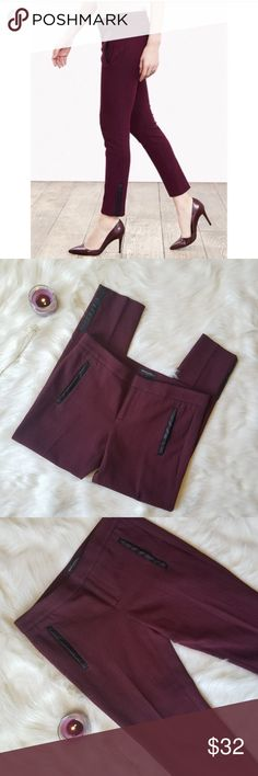 Banana Republic Sloan Herringbone Ankle Pant Burgundy with small black chevron. These pants stop at the ankle and have the chicest leather details at the pockets and the ankle.  Condition: EUC  Retail: $98 Size: 8P Length: 34 Waist: 34 MAKE A REASONABLE OFFER OR ADD TO A BUNDLE FOR A PRIVATE OFFER!  #49 Banana Republic Pants Ankle & Cropped
