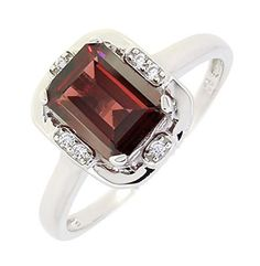 Vintage Style Sterling Silver Emerald Cut Genuine Mozambique Garnet Ring (1.7 CT.T.W) from World of Joy.