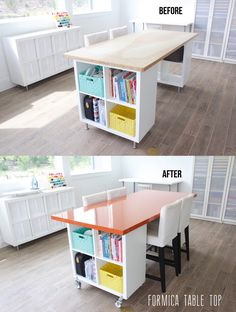 Get inspriration from this dream craft space for your sewing room or craft room. And check out the before and after DIY craft table. Sewing Room Design, Craft Room Design, Sewing Rooms, Craft Room Tables, Craft Desk, Diy Table, Diy Desk, Craft Table Ikea, Ikea Craft Room