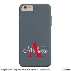 Simple Black Grey Red Your Monogram Personalized