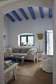 mediterranean home decor Mediterranean Architecture, Mediterranean Decor, Greek Decor, Home Decor Catalogs, Greek House, Home Living, Living Room, Beach House Decor, My Dream Home