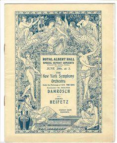 Jascha Heifetz, soloist and Walter Damrosch conducting the  New York Symphony Orchestra, 1920, concert program Royal Albert Hall, London  |  sold for $298.04