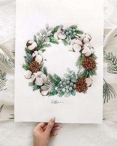 Лайк ?) . Помните в начале ноября я обещала вам в своё время показать этот рождественский венок?) Он определённо войдёт в 5ку моих самых любимых ❤️ . Не покидает желание создать к следующему году целую коллекцию открыток « рождественский венок»💫 Wreath Watercolor, Watercolour Painting, Watercolor Flowers, Painting & Drawing, Watercolor Christmas Cards, Floral Wall Art, Christmas Mood, Christmas Illustration, Illustrations And Posters