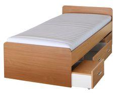 Jednolôžková posteľ v prírodnej farbe dreva buk je vhodná do detských alebo študentských izieb. Pod lôžkom sa nachádza úložný priestor s tromi zásuvkami. Je vyrobená z laminovanej DTD a plocha lôžka je 90x200 cm. Posteľ je dodávaná bez roštu a matraca, no tie si môžete vybrať a priobjednať z ponuky v našom internetovom obchode.