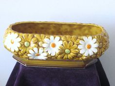 Majolica Style Daisy Ceramic Planter  Brown by RicksVintagePlus