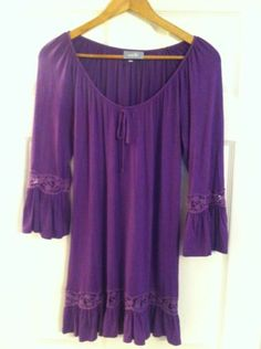 LADIES WALLIS PURPLE LACE BOHO TEA DRESS SIZE 12 14 TUNIC | eBay
