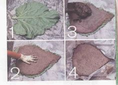 Rhubarb Leaf Stepping Stones - we'll be using elephant ear leafs 'cause that's what we have but this looks like fun!