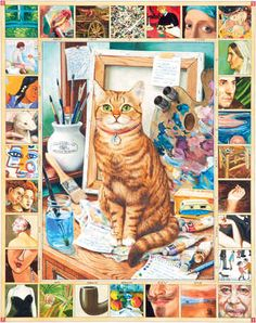 """""""The Artist's Cat"""" by Geoffrey Tristram [jokes & puzzles all over the image]"""