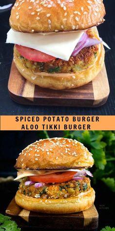 Veg Burgers Recipe, Homemade Veggie Burgers, Vegan Sandwich Recipes, Vegan Sandwiches, Burger Recipes, Cheesy Recipes, Spicy Recipes, Veg Recipes Snacks, Cooking Recipes