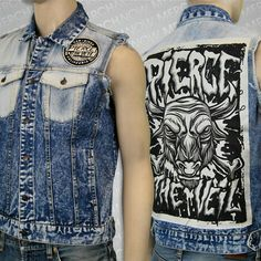 Your Favorite Band Merch, Music and Jean Vest, Band Merch, Pierce The Veil, Diy Clothes, Good Music, My Outfit, Punk, Denim, T Shirt