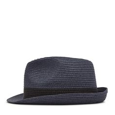 Thomas Navy Woven Trilby Hat - REISS : The thomas woven trilby hat in navy plays its part in our iconic hat collection and is available to buy online at REISS.