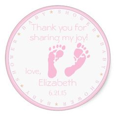 Pink Footprints-Baby Shower Sticker