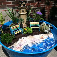 Here's another view of my miniature  beach scene garden! My little piece of the beach, just for my backyard!