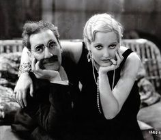"""""""I think we could all usethis picture Groucho Marx and Thelma Todd today"""" [dec Old Hollywood Glamour, Hollywood Actor, Golden Age Of Hollywood, Vintage Hollywood, Classic Hollywood, Hollywood Couples, Harlem Renaissance, Glenda Farrell, Thelma Todd"""
