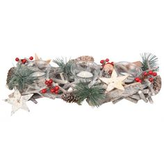 Kerststukje dennen met witte theelichthouders. Dit kerststukje met dennenappels…