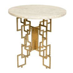 Mid Century Geometric Brass and Marble Side Table