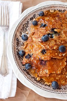 Oatmeal Blueberry Pancakes From Never enough Thyme!