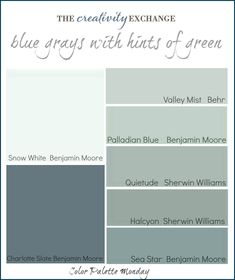 blue gray with hint of green. Use Charlotte Gray for front door