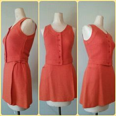 This darling vintage 1960s orange wrap skirt and vest set is by Bobbie Brooks and available right now at RackedVintage! #micromini #vintageminiskirt