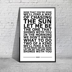 Oasis - Slide Away White Typography Song Lyric Art Poster Print A4 A3 6x4""